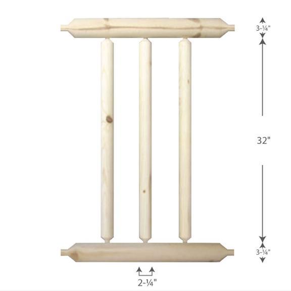 Log Home Railing — 2-1/4
