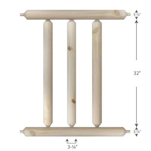 Log Home Railing — 3-1/4