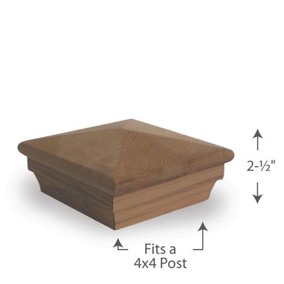 Colonial Pyramid Post Cap — 4x4